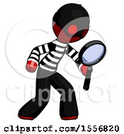 Red Thief Man Inspecting With Large Magnifying Glass Right