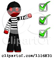 Red Thief Man Standing By List Of Checkmarks