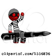 Red Thief Man Riding A Pen Like A Giant Rocket