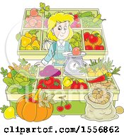 Clipart Of A Blond White Woman Working At A Farmers Market Royalty Free Vector Illustration