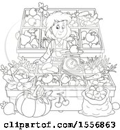 Clipart Of A Black And White Woman Working At A Farmers Market Royalty Free Vector Illustration