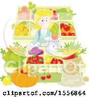 Clipart Of A Blond Caucasian Woman Working At A Farmers Market Royalty Free Vector Illustration