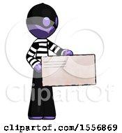 Purple Thief Man Presenting Large Envelope