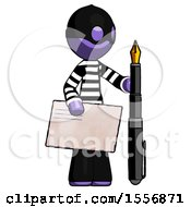 Purple Thief Man Holding Large Envelope And Calligraphy Pen