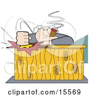 Angry Boss Smoking A Cigar And Slamming His Fist Down On His Desk Clipart Illustration
