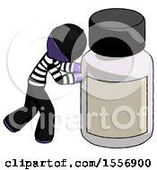 Purple Thief Man Pushing Large Medicine Bottle