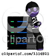 Purple Thief Man Resting Against Server Rack Viewed At Angle
