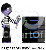 Purple Thief Man Server Administrator Doing Repairs