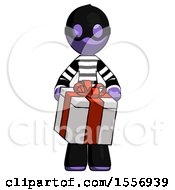 Purple Thief Man Gifting Present With Large Bow Front View