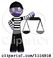 Purple Thief Man Holding Scales Of Justice