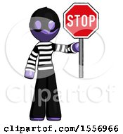 Purple Thief Man Holding Stop Sign