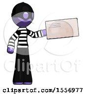 Purple Thief Man Holding Large Envelope