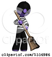 Purple Thief Man Sweeping Area With Broom