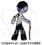 Purple Thief Man Walking With Hiking Stick