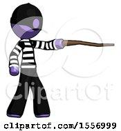 Purple Thief Man Pointing With Hiking Stick