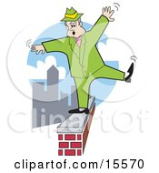Shaky Man In Green Trying To Maintain His Balance While Walking On A Brick Wall High Above The City Clipart Illustration