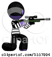 Purple Thief Man Kneeling Shooting Sniper Rifle