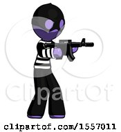 Purple Thief Man Shooting Automatic Assault Weapon
