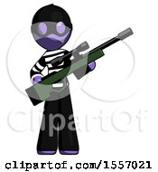 Purple Thief Man Holding Sniper Rifle Gun