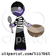 Purple Thief Man With Empty Bowl And Spoon Ready To Make Something