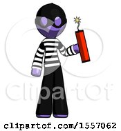 Purple Thief Man Holding Dynamite With Fuse Lit