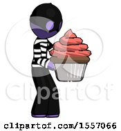 Purple Thief Man Holding Large Cupcake Ready To Eat Or Serve