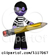 Purple Thief Man Writer Or Blogger Holding Large Pencil
