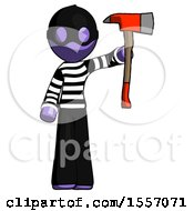 Purple Thief Man Holding Up Red Firefighters Ax