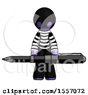 Purple Thief Man Weightlifting A Giant Pen
