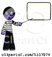 Purple Thief Man Giving Presentation In Front Of Dry Erase Board