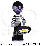Poster, Art Print Of Purple Thief Man Frying Egg In Pan Or Wok