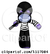 Purple Thief Man Looking Down Through Magnifying Glass