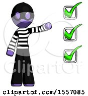Purple Thief Man Standing By List Of Checkmarks