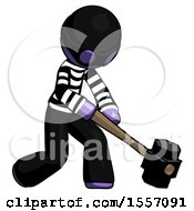Purple Thief Man Hitting With Sledgehammer Or Smashing Something At Angle