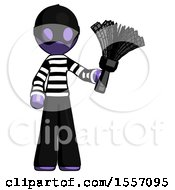 Purple Thief Man Holding Feather Duster Facing Forward