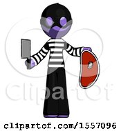 Purple Thief Man Holding Large Steak With Butcher Knife