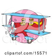 Two Men Flying In A Red Biplane With Blue Wings