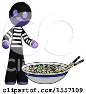 Purple Thief Man And Noodle Bowl Giant Soup Restaraunt Concept