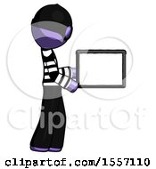 Purple Thief Man Show Tablet Device Computer To Viewer Blank Area