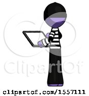 Purple Thief Man Looking At Tablet Device Computer With Back To Viewer