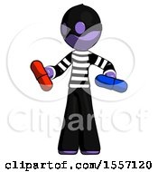 Purple Thief Man Red Pill Or Blue Pill Concept