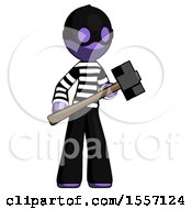 Purple Thief Man With Sledgehammer Standing Ready To Work Or Defend