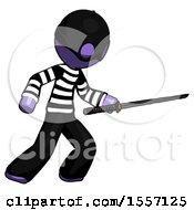 Purple Thief Man Stabbing With Ninja Sword Katana