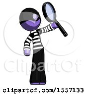 Purple Thief Man Inspecting With Large Magnifying Glass Facing Up