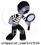 Purple Thief Man Inspecting With Large Magnifying Glass Right