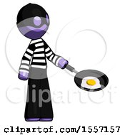 Poster, Art Print Of Purple Thief Man Frying Egg In Pan Or Wok Facing Right