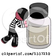 Pink Thief Man Pushing Large Medicine Bottle