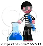 Pink Thief Man Holding Test Tube Beside Beaker Or Flask