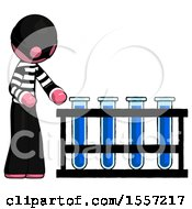 Pink Thief Man Using Test Tubes Or Vials On Rack