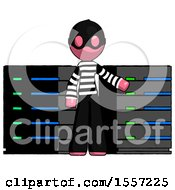 Pink Thief Man With Server Racks In Front Of Two Networked Systems
